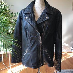Black Rivet Leather Moto Jacket - 2X Plus